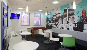 Clutter-free and colourful. Drab 1980s Bristol office gets massive makeover