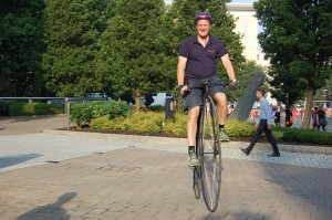 Law firm boss goes flat out for Cycle To Work Day – on a Victorian penny farthing that can't go uphill