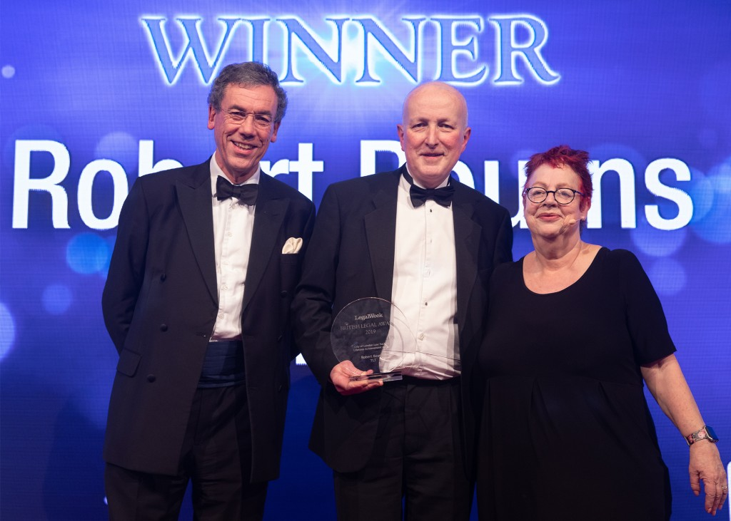 Lifetime Achievement title for TLT's Robert Bourns at the British Legal Awards