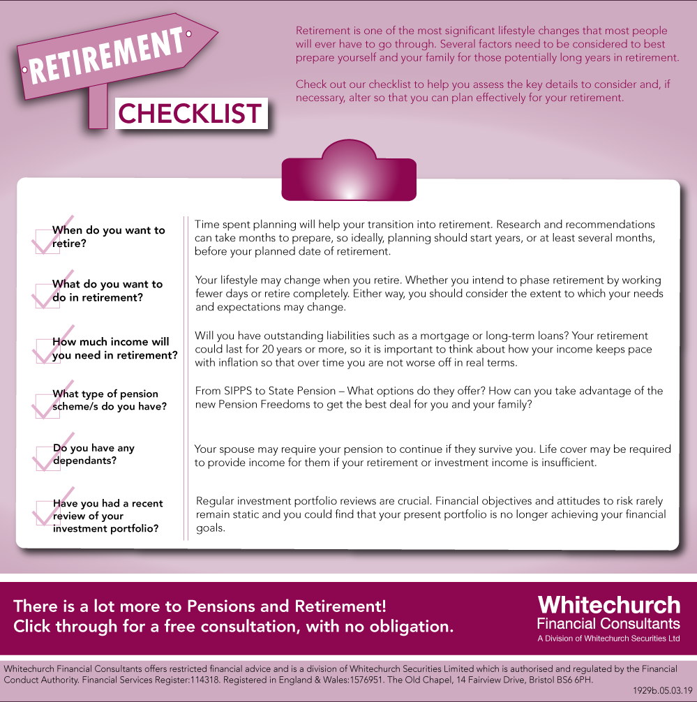 Whitechurch Financial Consultants: Your retirement checklist