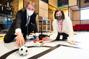 Metro Mayor on the ball as he joins We The Curious's robot revolution